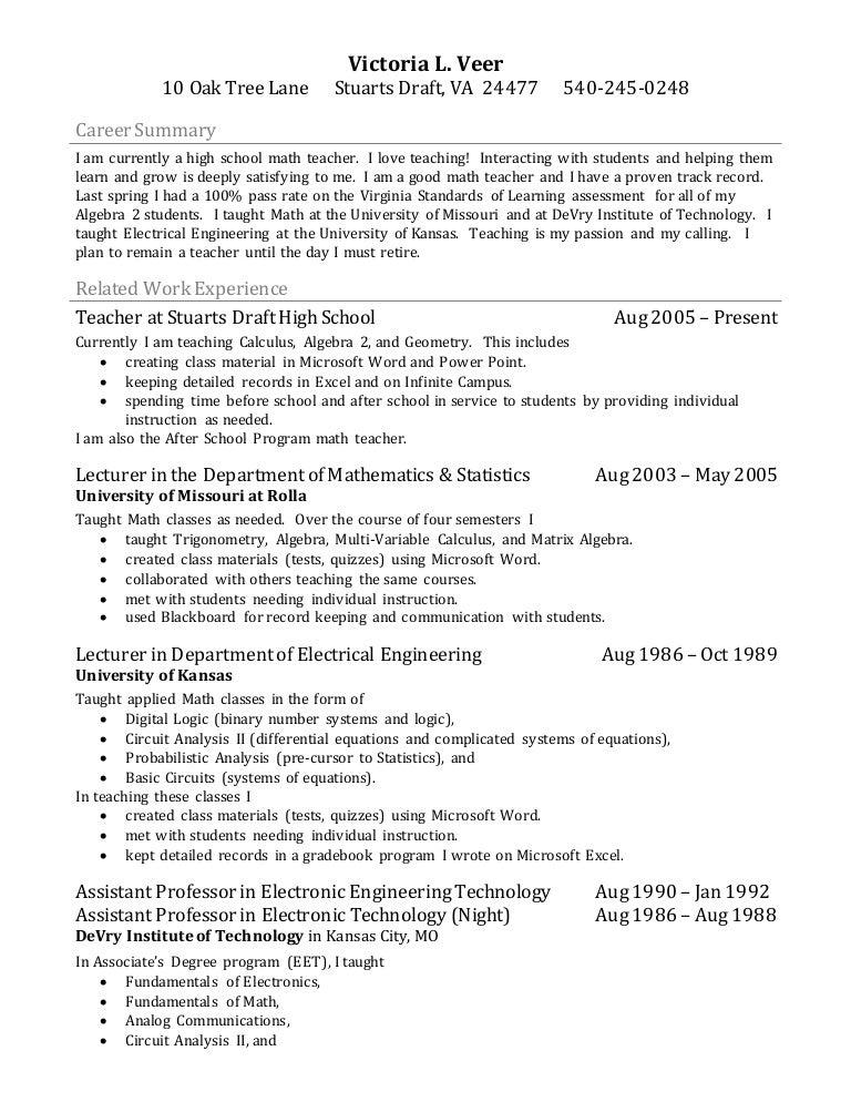 resume math teacher