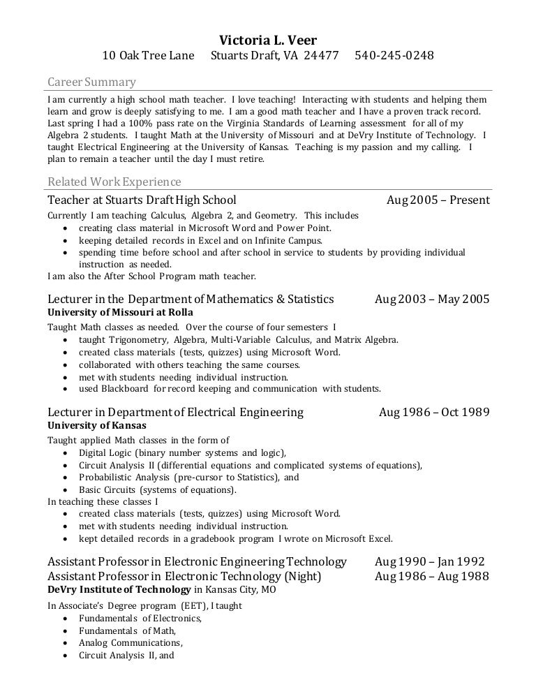 SlideShare  High School Math Teacher Resume