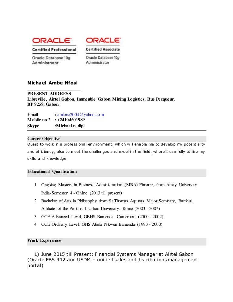 resume oracle ebs r12 english and french speaking