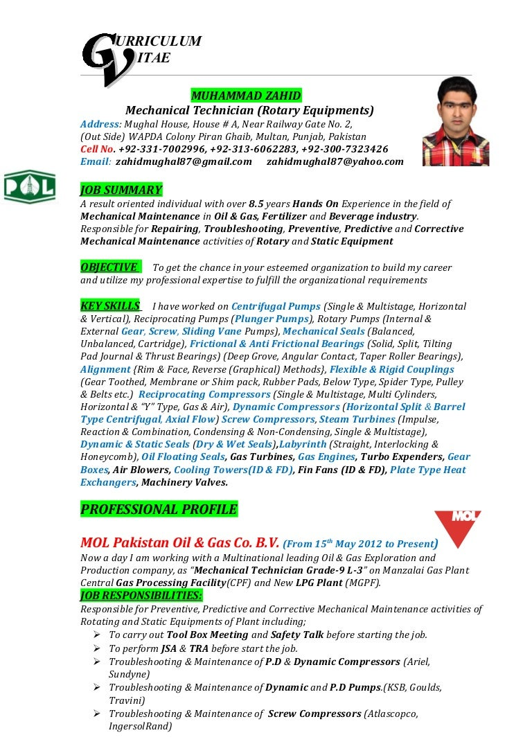 Resume Format For Technician Resume Template Ideas
