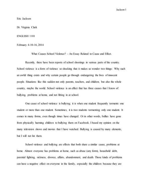 Causes of school violence essay