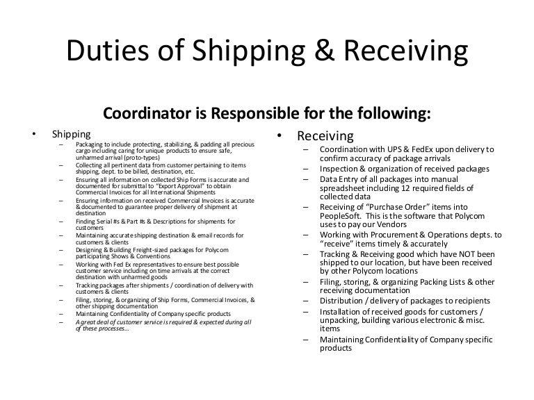 shipping  u0026 receiving