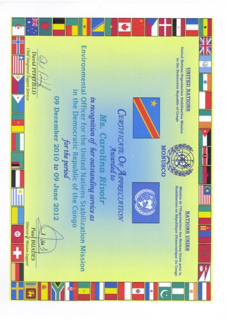 Un monusco certificate of appreciation yelopaper Choice Image