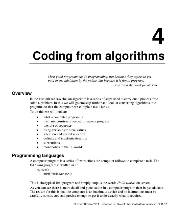 how to write pseudocode for c program