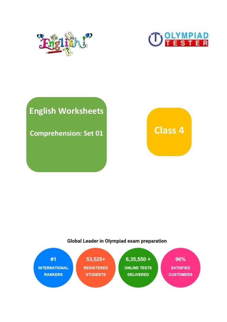- Grade 4 English Worksheets On Comprehension - Set 01