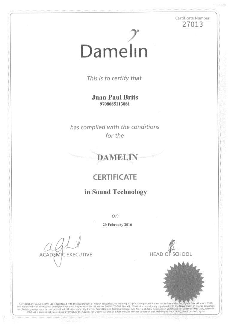 JP Damelin certificate
