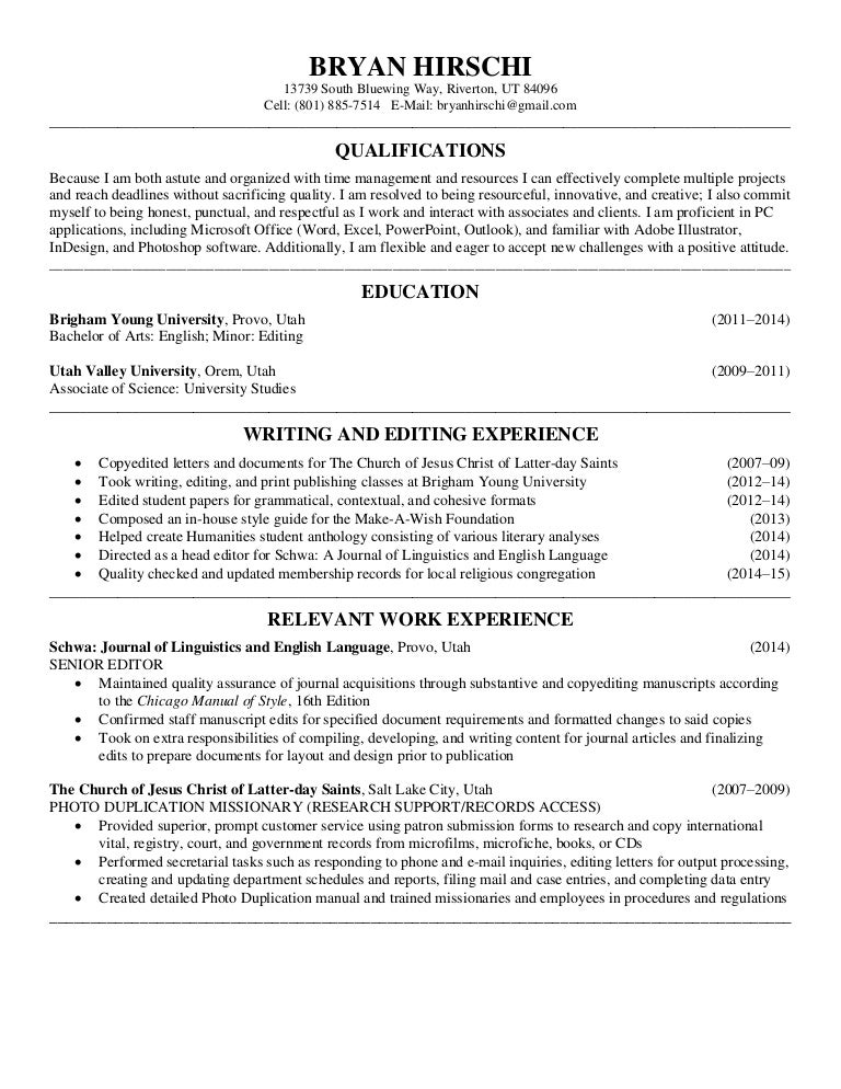 Writing And Editing Resume 2 21 15 .