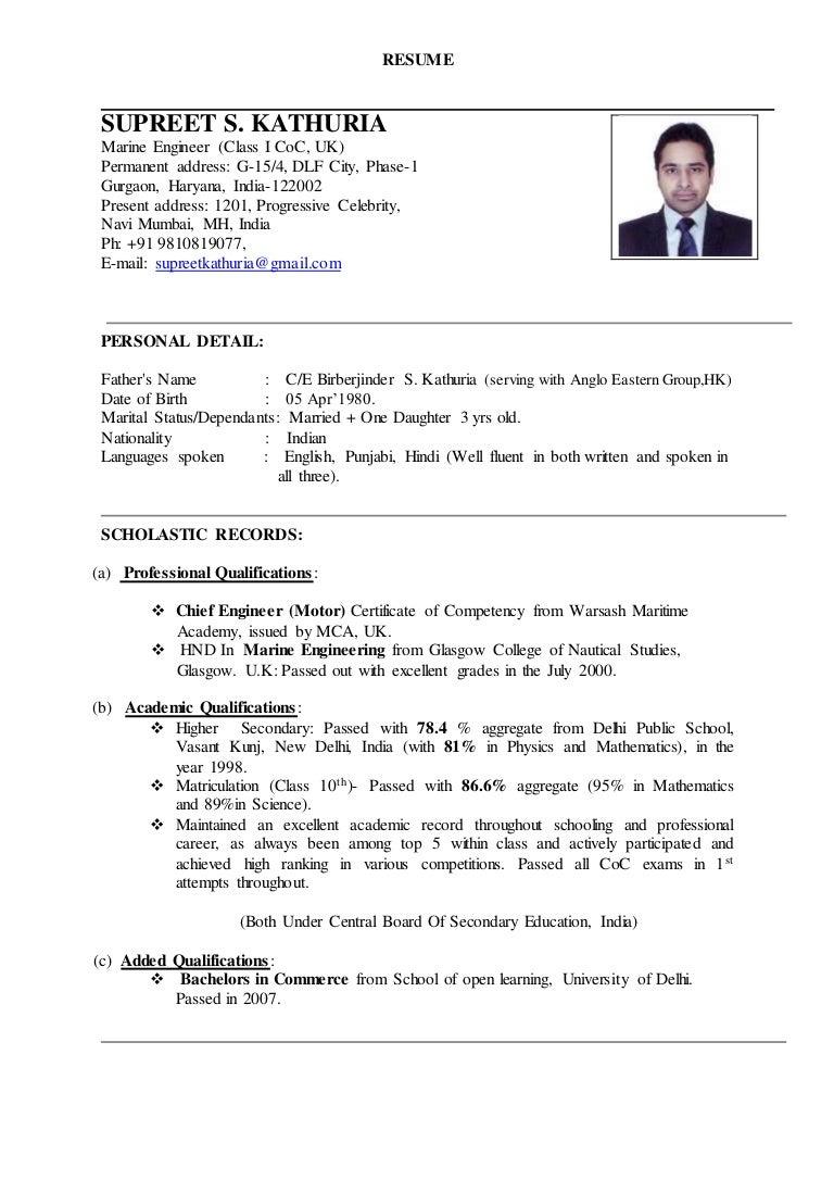 Deck Cadet Resume Objective Adorable Sample Resume For Marine ...