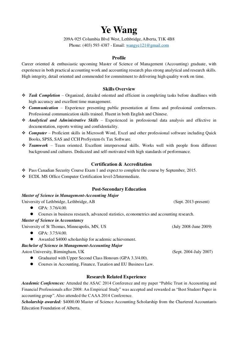 ye wang resume for all