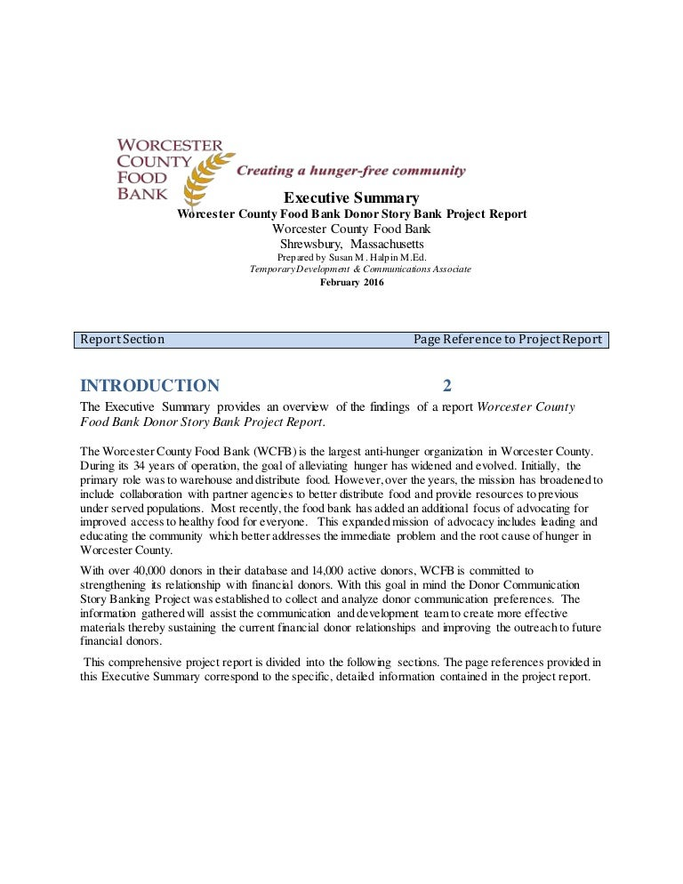 EXECUTIVE SUMMARY Story Bank Project Report 22416 – Executive Summary Format for Project Report
