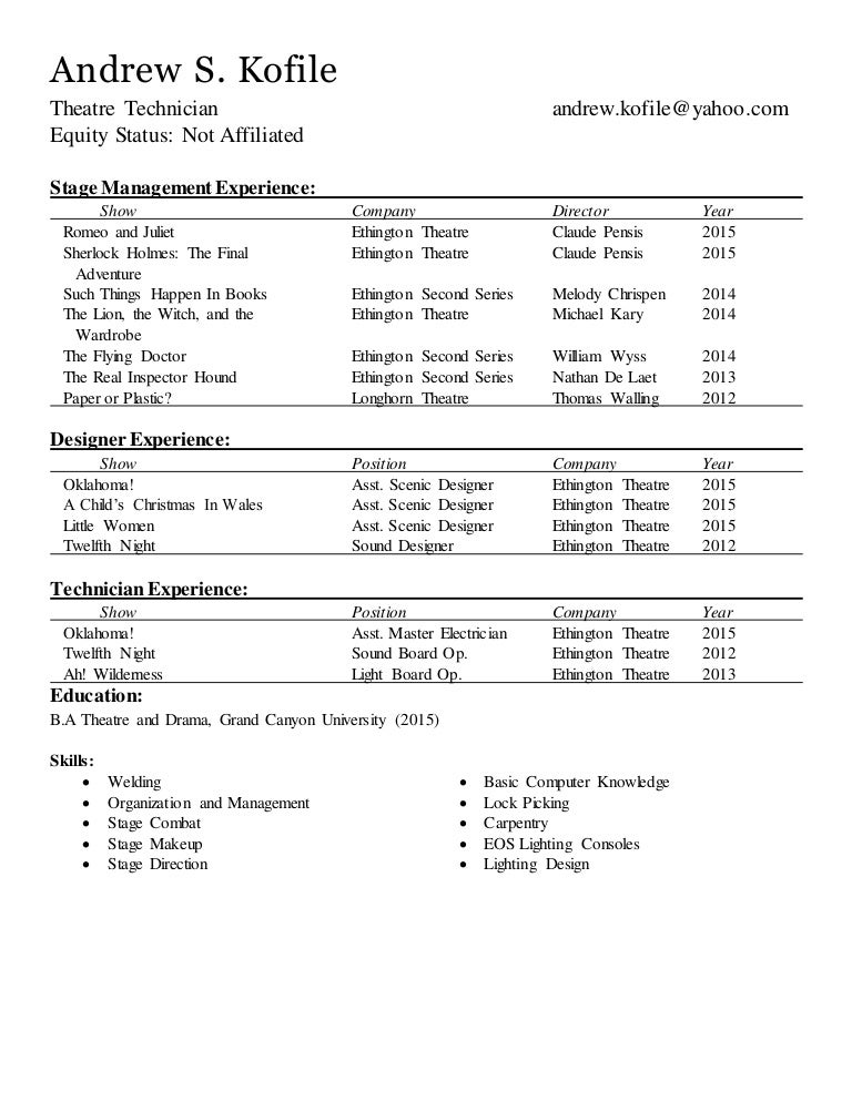 Technical Resume No References .  How To Make A Theatre Resume