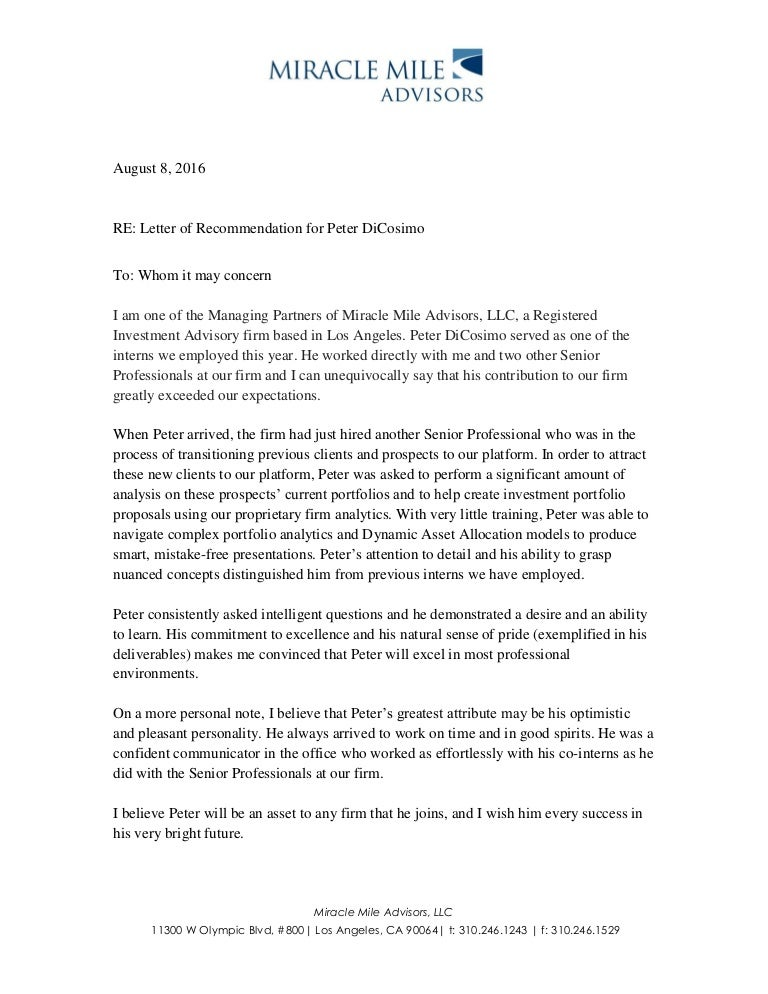 Letter Of Recommendation For Peter DiCosimo