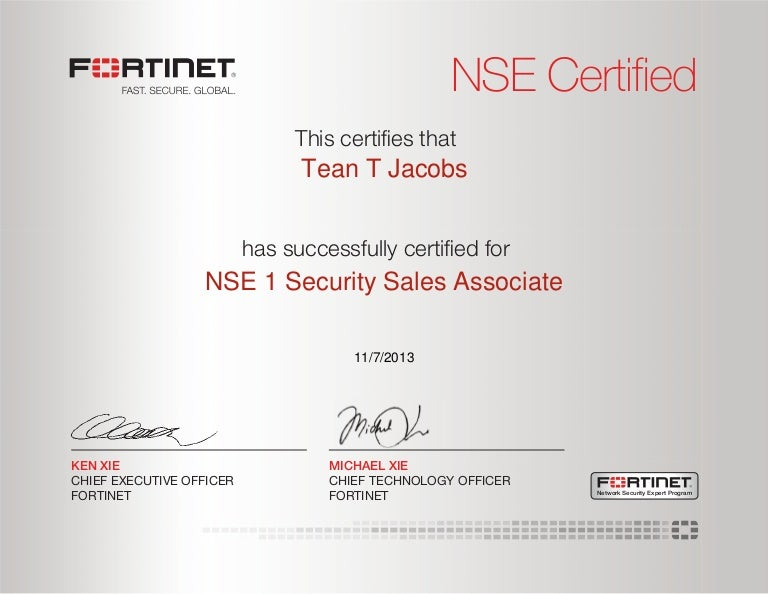 Fortinet NSE 1 Security Sales Associate