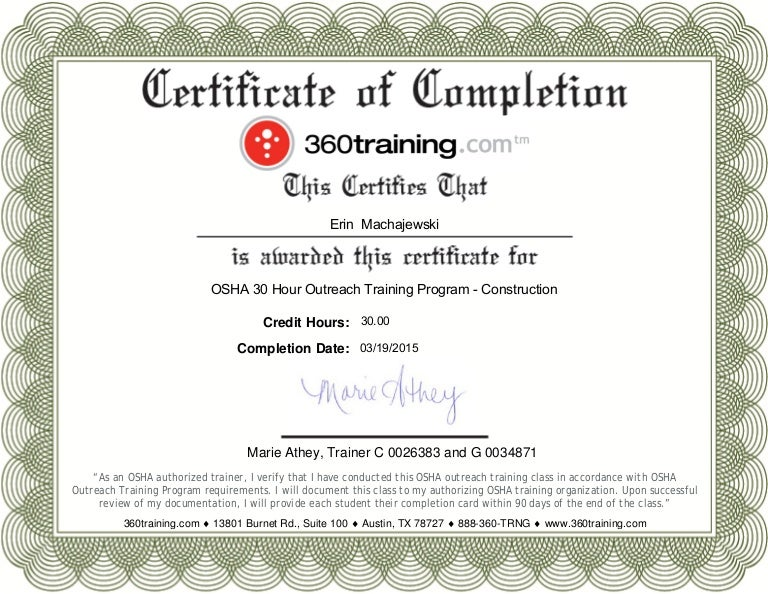 Osha 10 Certificate Template Choice Image - template design free ...