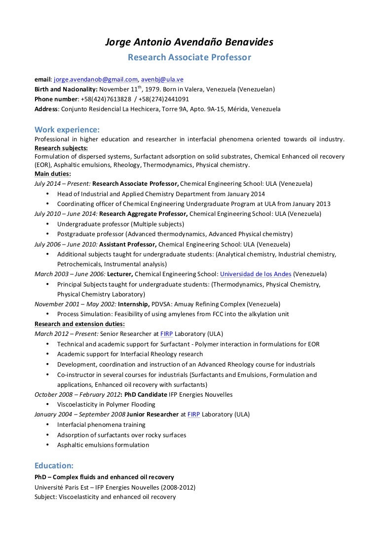 Academic Cv Template Phd