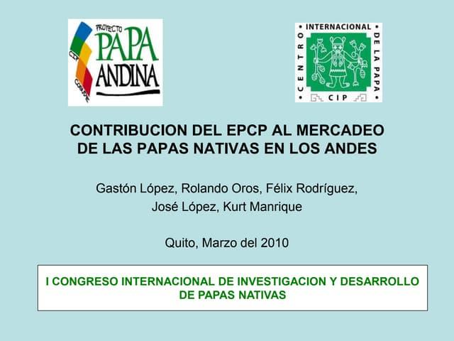Contribución del EPCP al mercado de las papas nativas en los andes