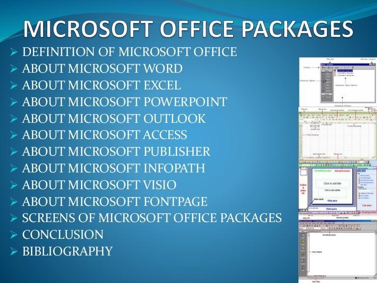 define office. 4 Ms Office Packages Define U