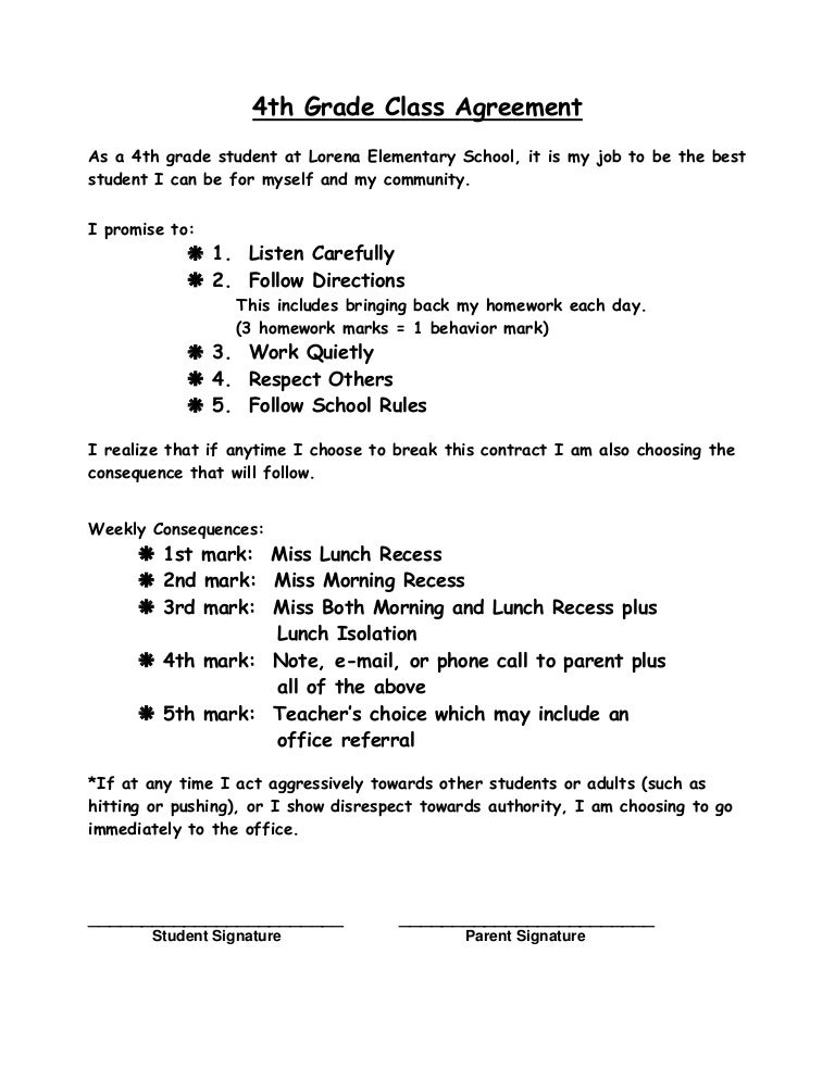 4th Grade Class Agreement