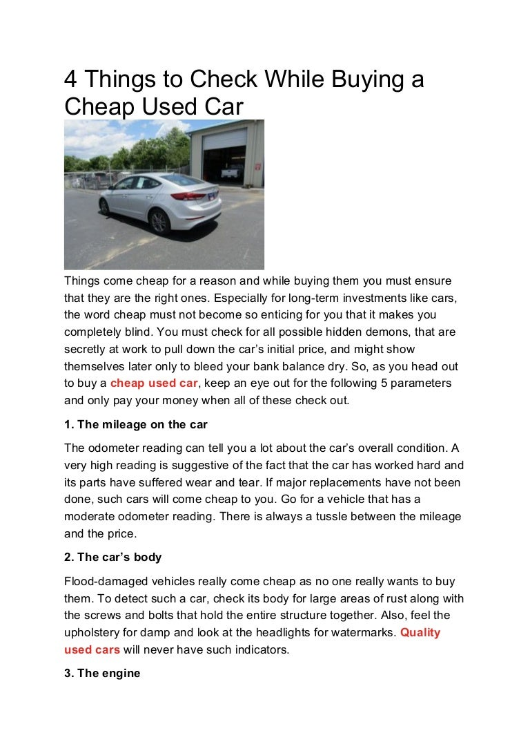 Really Cheap Cars >> 4 Things To Check While Buying A Cheap Used Car