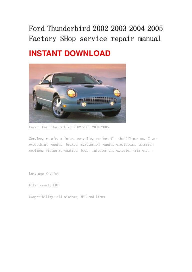 ford thunderbird 2002 2003 2004 2005 manual