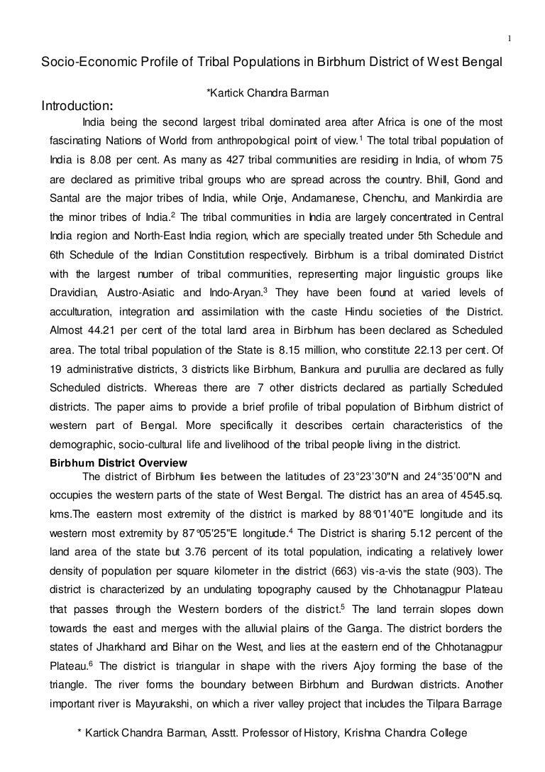 socio economic profile of tribal populations in birbhum district of w