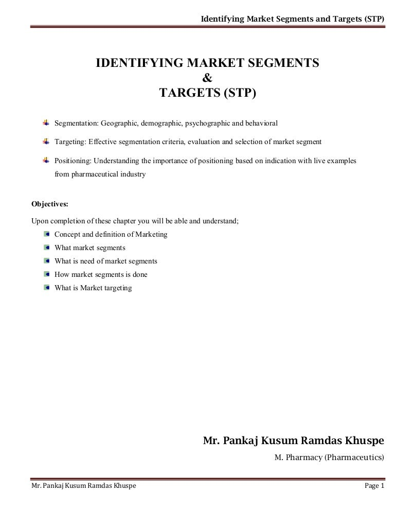 5.identifying market segments and targets (stp)
