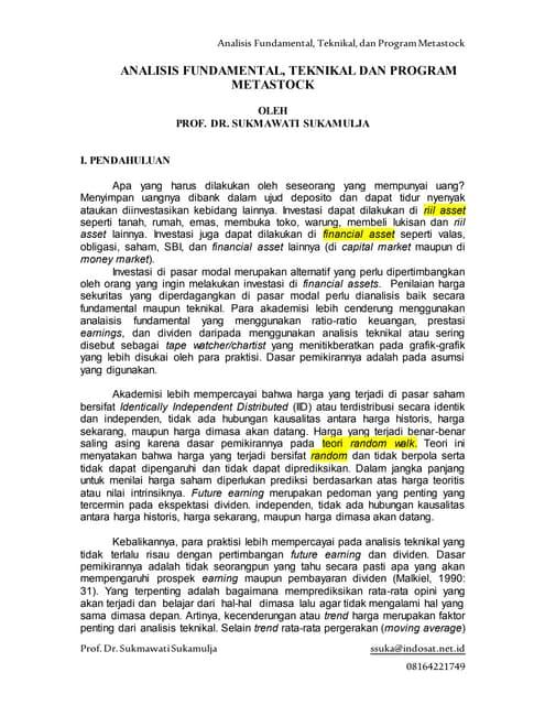 Analisis Fundamental, Teknikal, dan Program Metastock