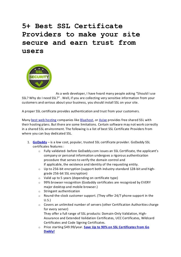 5 Best Ssl Certificate Providers To Make Your Site Secure And Earn T