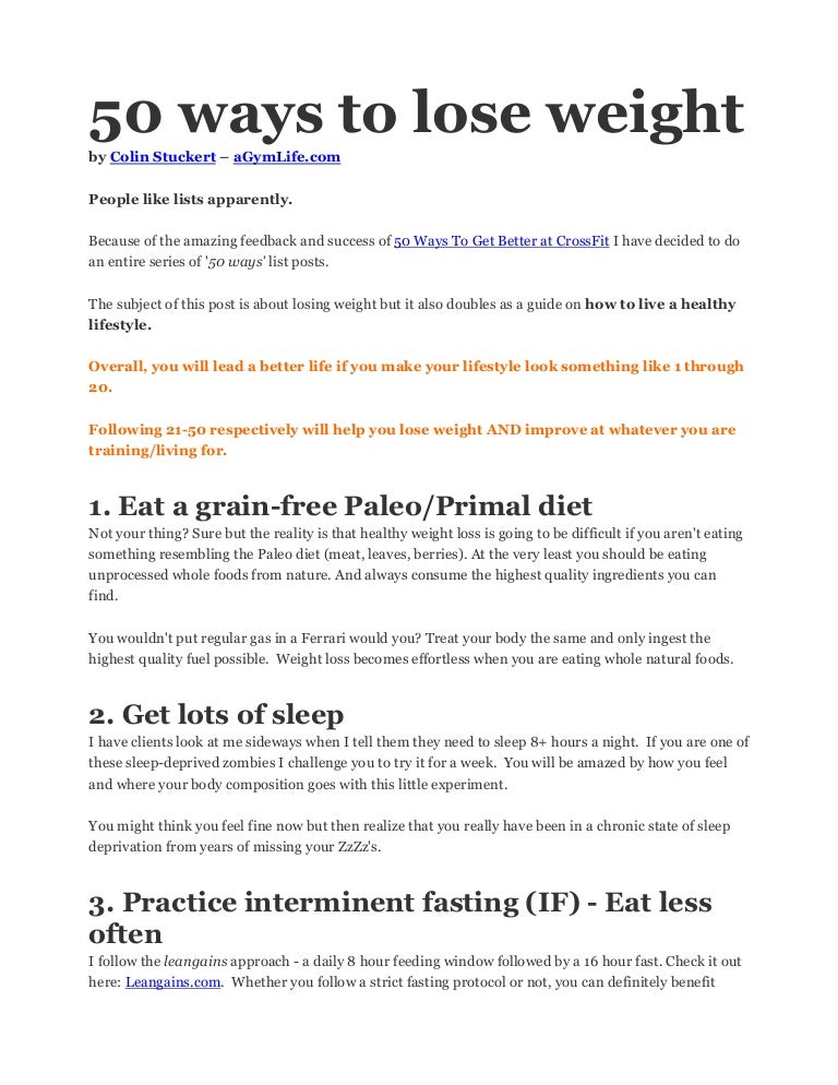 50 ways to lose weight by colin stuckert agymlife ccuart Choice Image