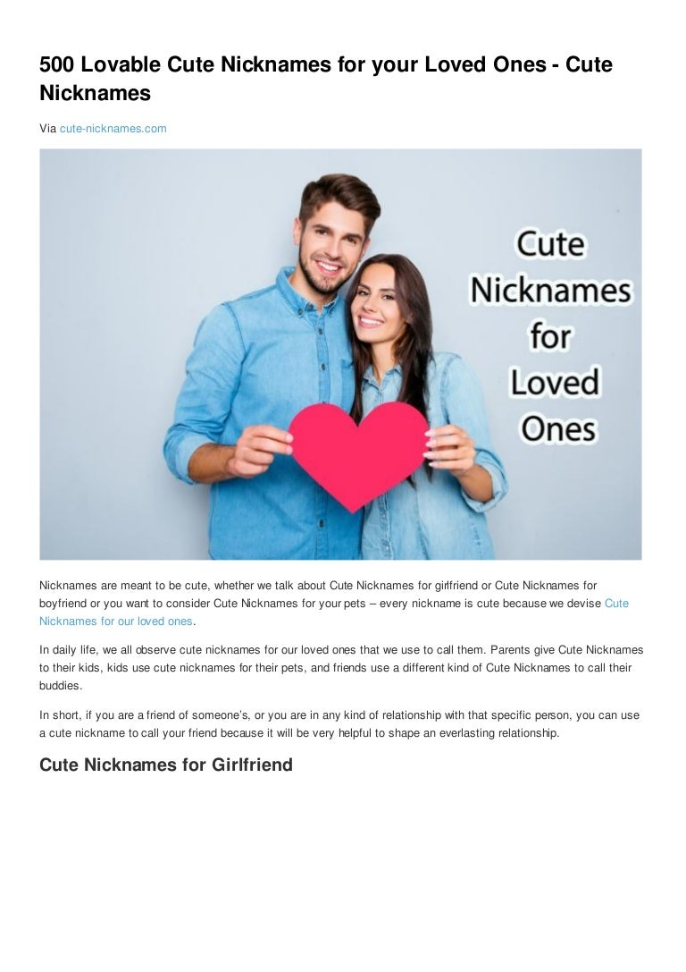 Nicknames list for boyfriend