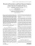Theoretical Formulation and Finite Elemental Analysis of the Conformal Cylindrical Contact