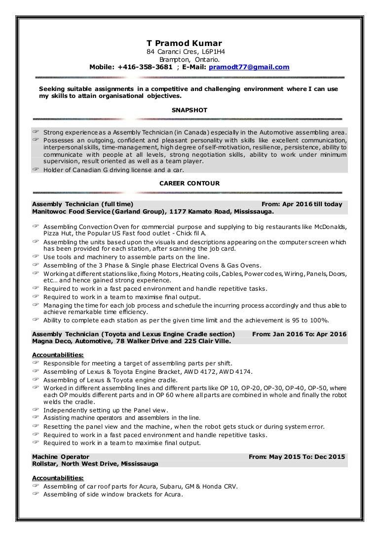 pramod resume assembly technician