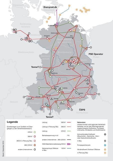 Réseau haute tension 50 Herz en Allemagne