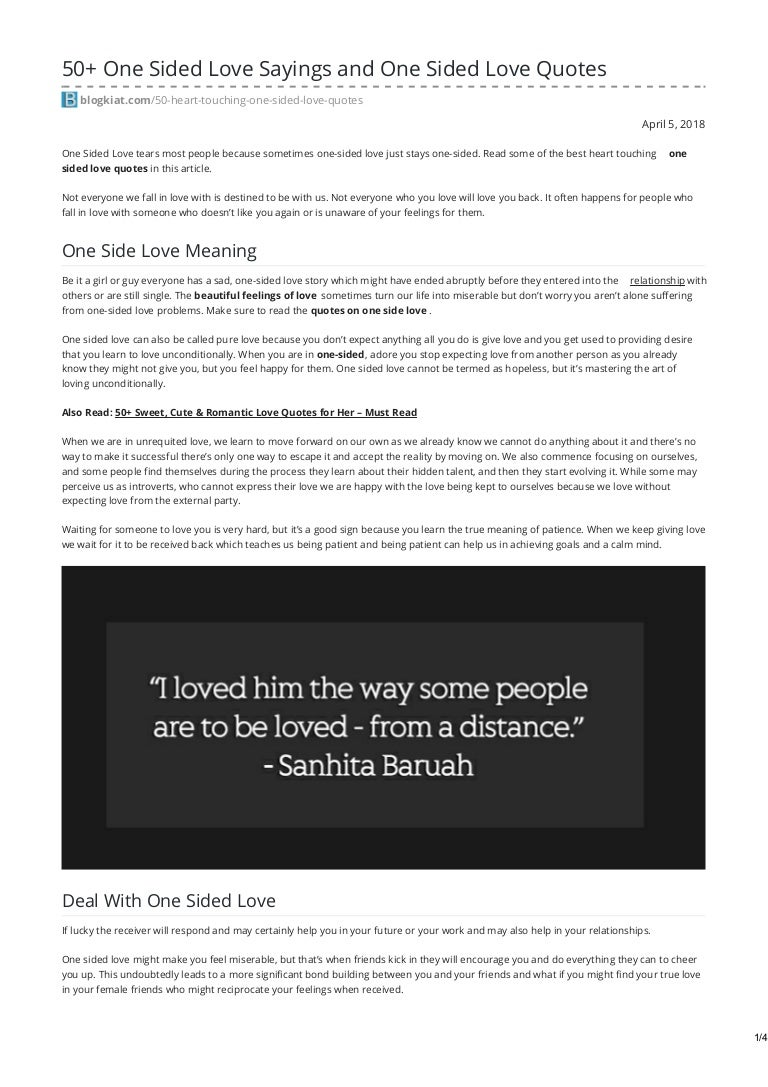 One Sided Love Sayings And One Sided Love Quotes