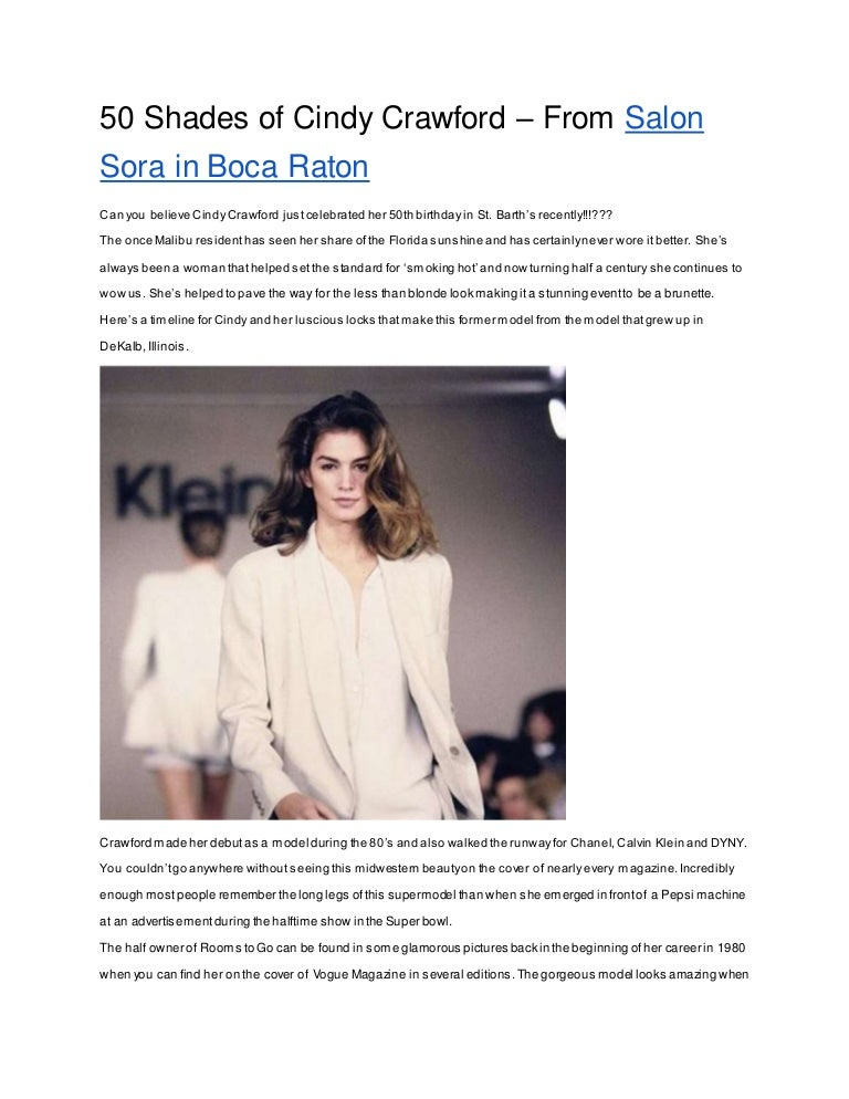 5de4c65a00c 50 shades of Cindy Crawford – from Salon Sora Boca Raton
