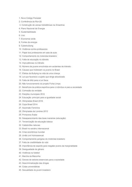 50 temas para redação