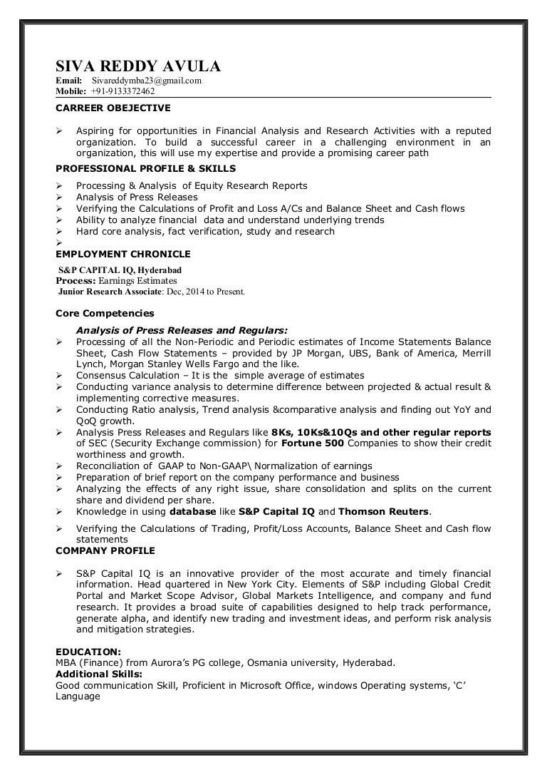 capital iq resume