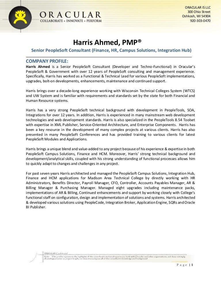 harris ahmed senior peoplesoft consultant - People Soft Consultant Resume