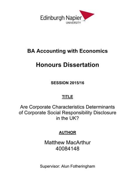 Honours dissertation sample