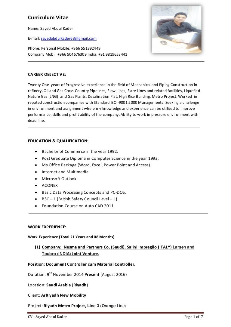 Curriculum Vitae - Sayed Abdul Kader -
