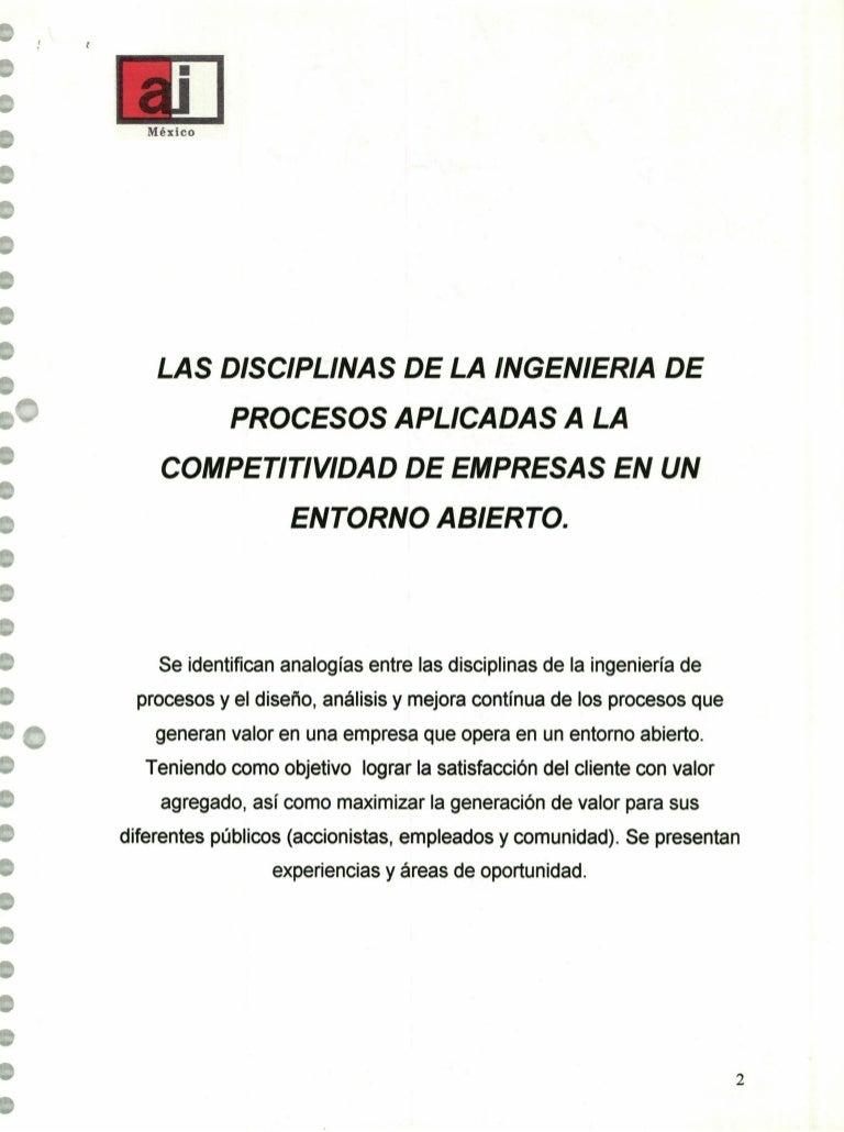 Las disciplinas de la Ingeniería de Procesos aplicadas a la competiti…