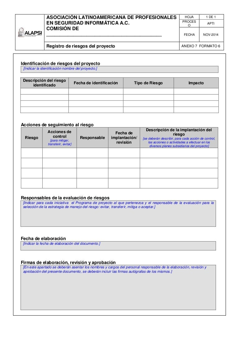 PM-Registro de riesgos del proyecto-ALAPSI A.C.