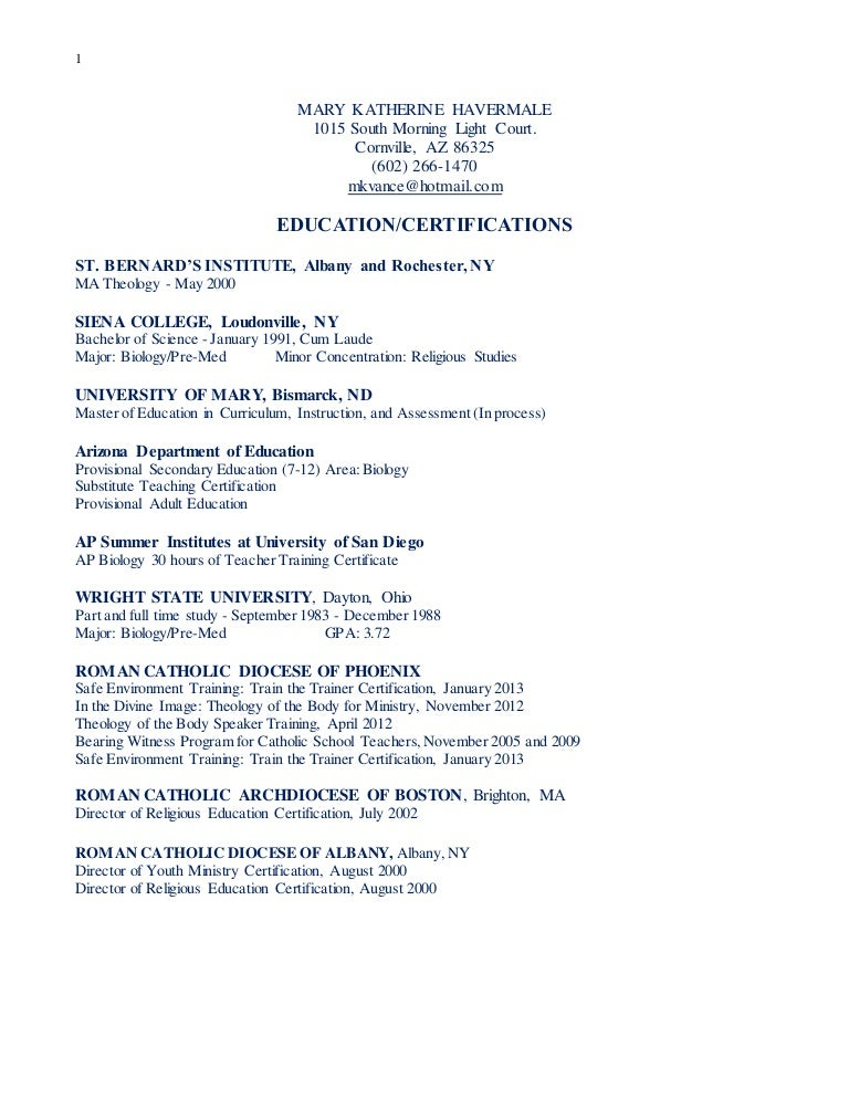 Mary Katherine Havermale resume 2015 parish