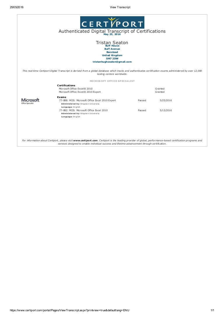 2016 05 22 Excel 2010 Expert Certification