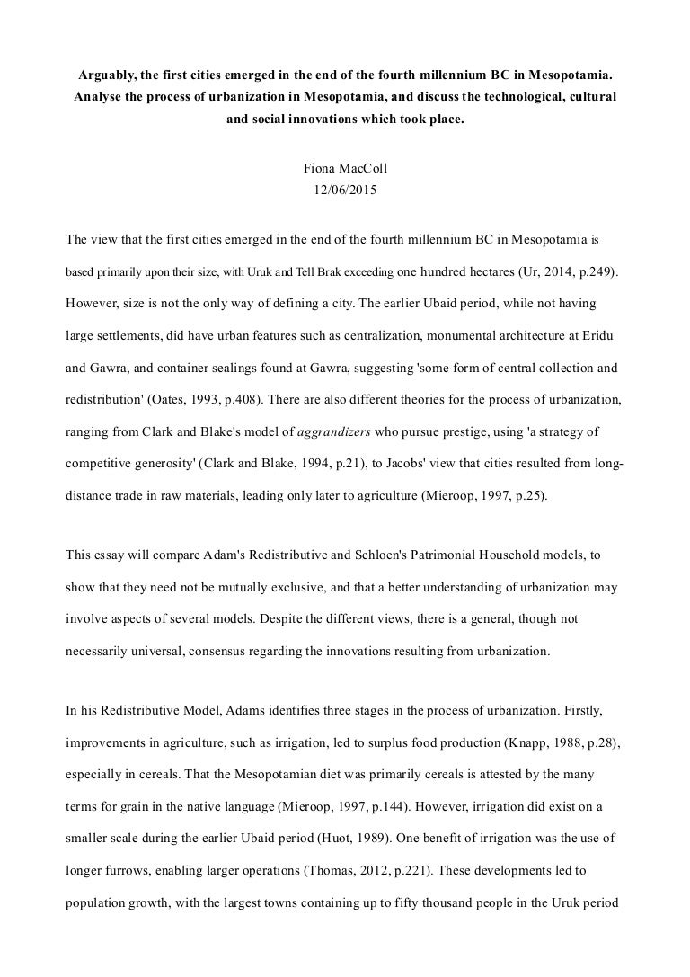 urbanisation essay an essay on my mother essay on urbanisation  mesopotamian urbanisation essay