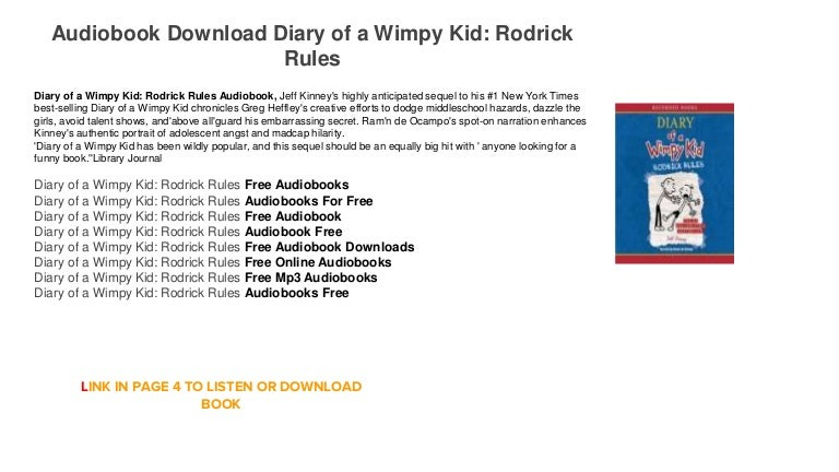 Audiobook Free Trial Mp3 Diary Of A Wimpy Kid Rodrick Rules