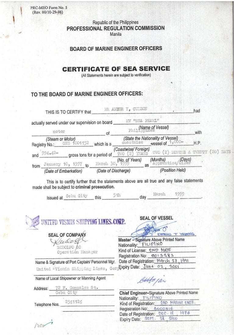 Certificate Of Sea Service