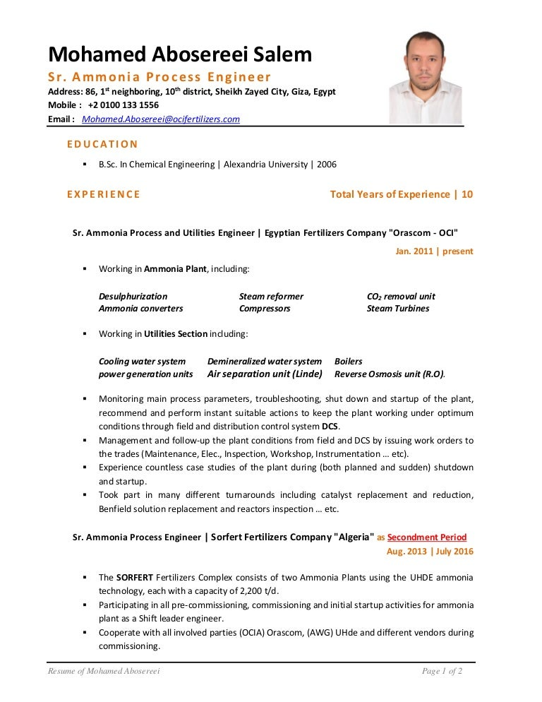sr  ammonia process engineer u0026 39 s cv