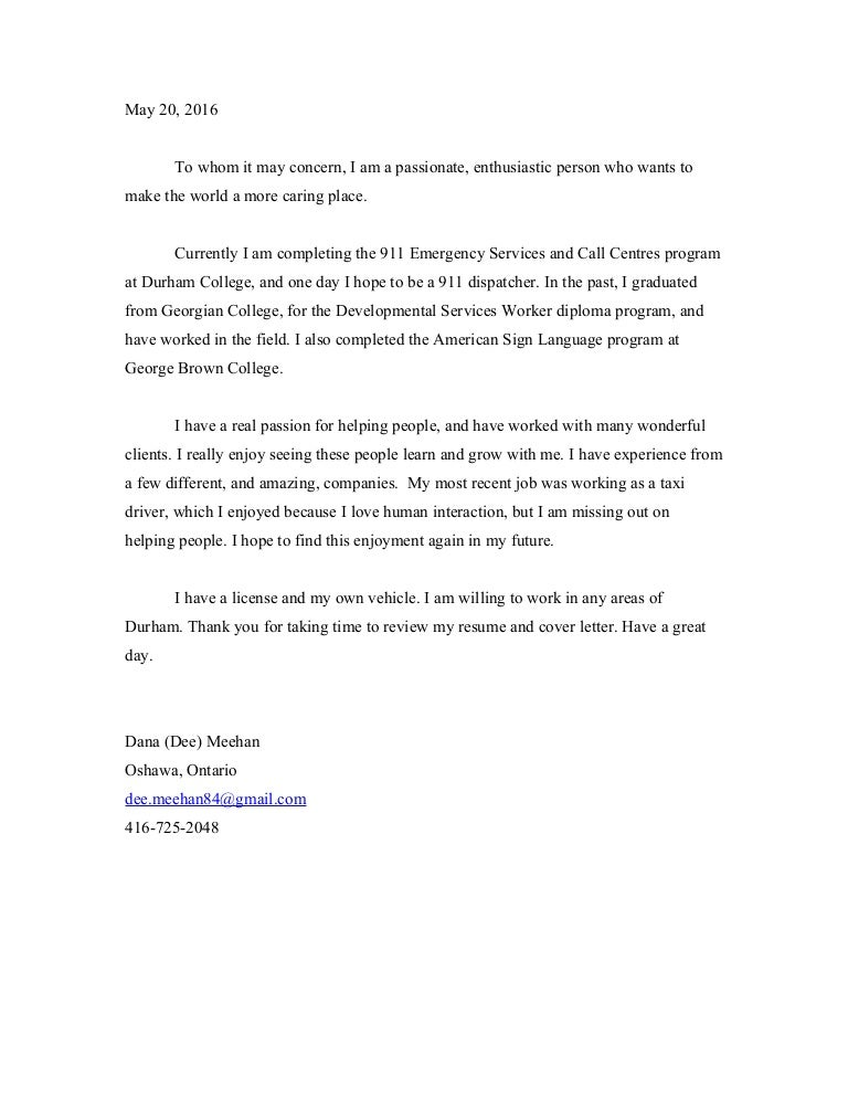 Cover letter for LI