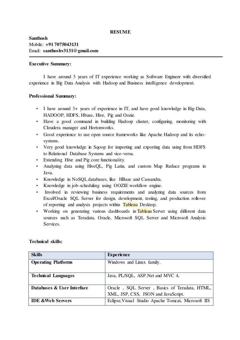 hadoop resume big data hadoop resume